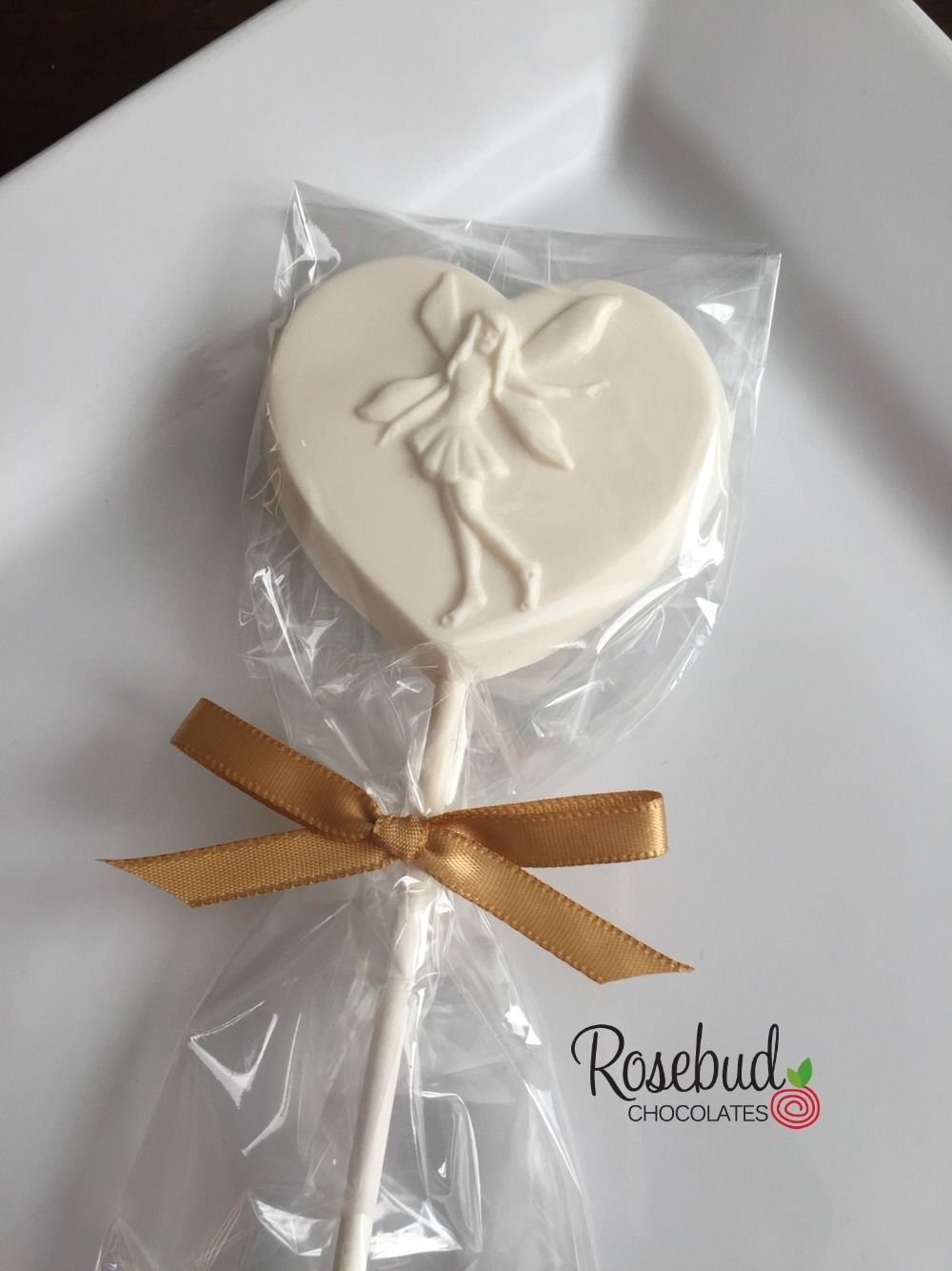 White Chocolate Fairy Heart-Shaped Lollipop Favors with Gold Ribbon ...