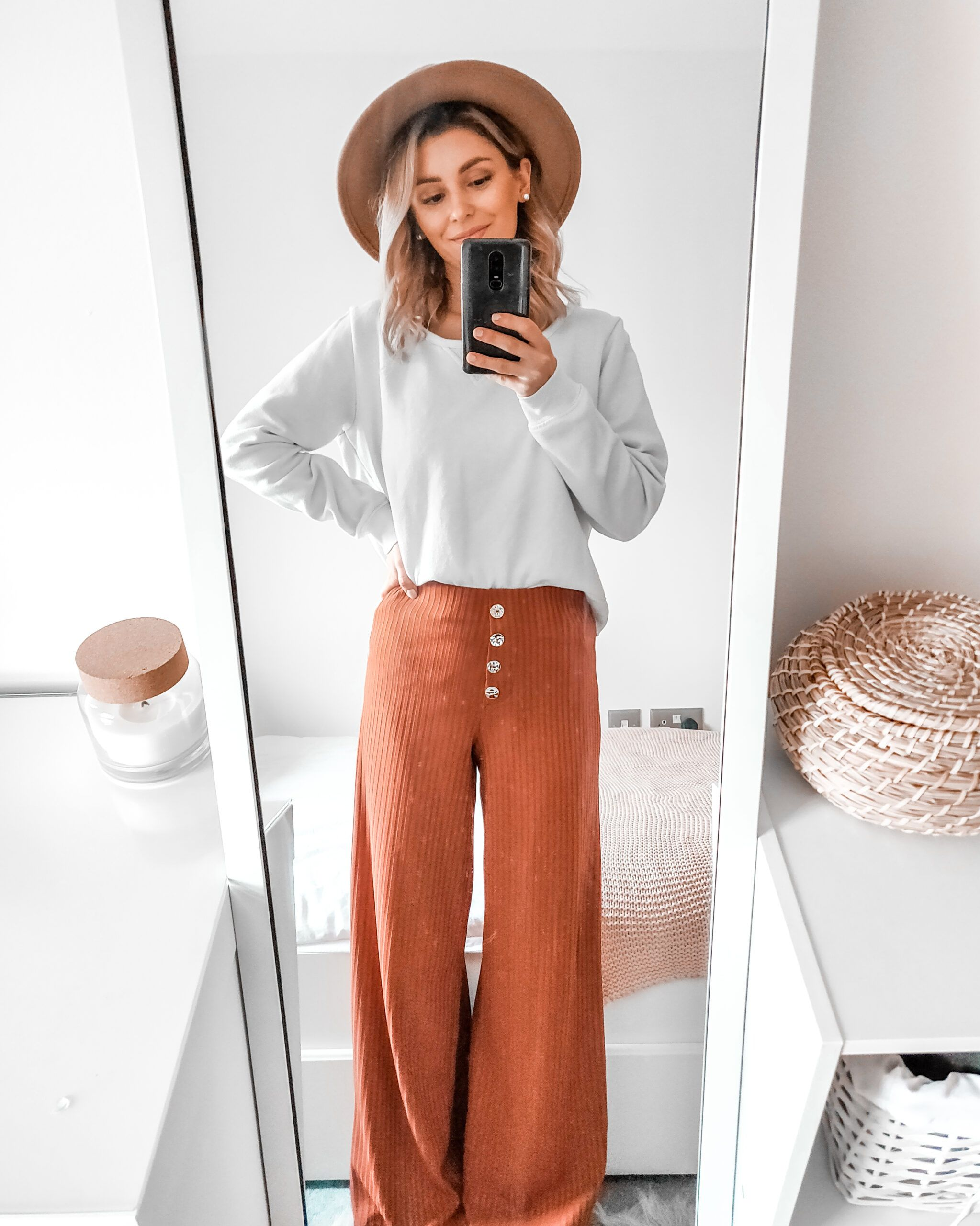 Ribbed Trousers and Camel Hat | New in Primark 2020 Outfits - Cappuccino and Fashion