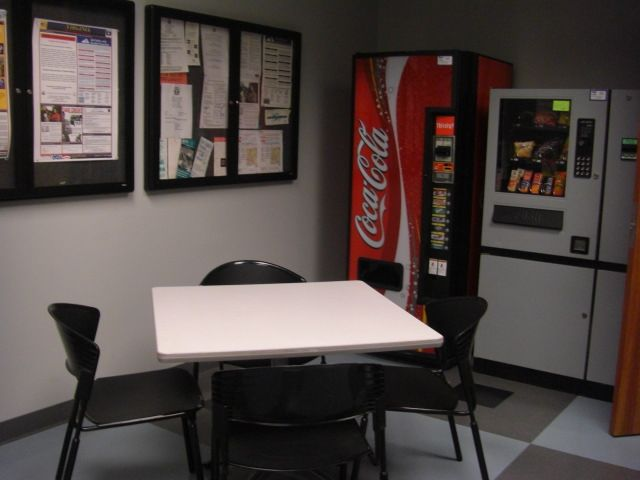 Small break room one table commercial office break for Office lunch room design ideas