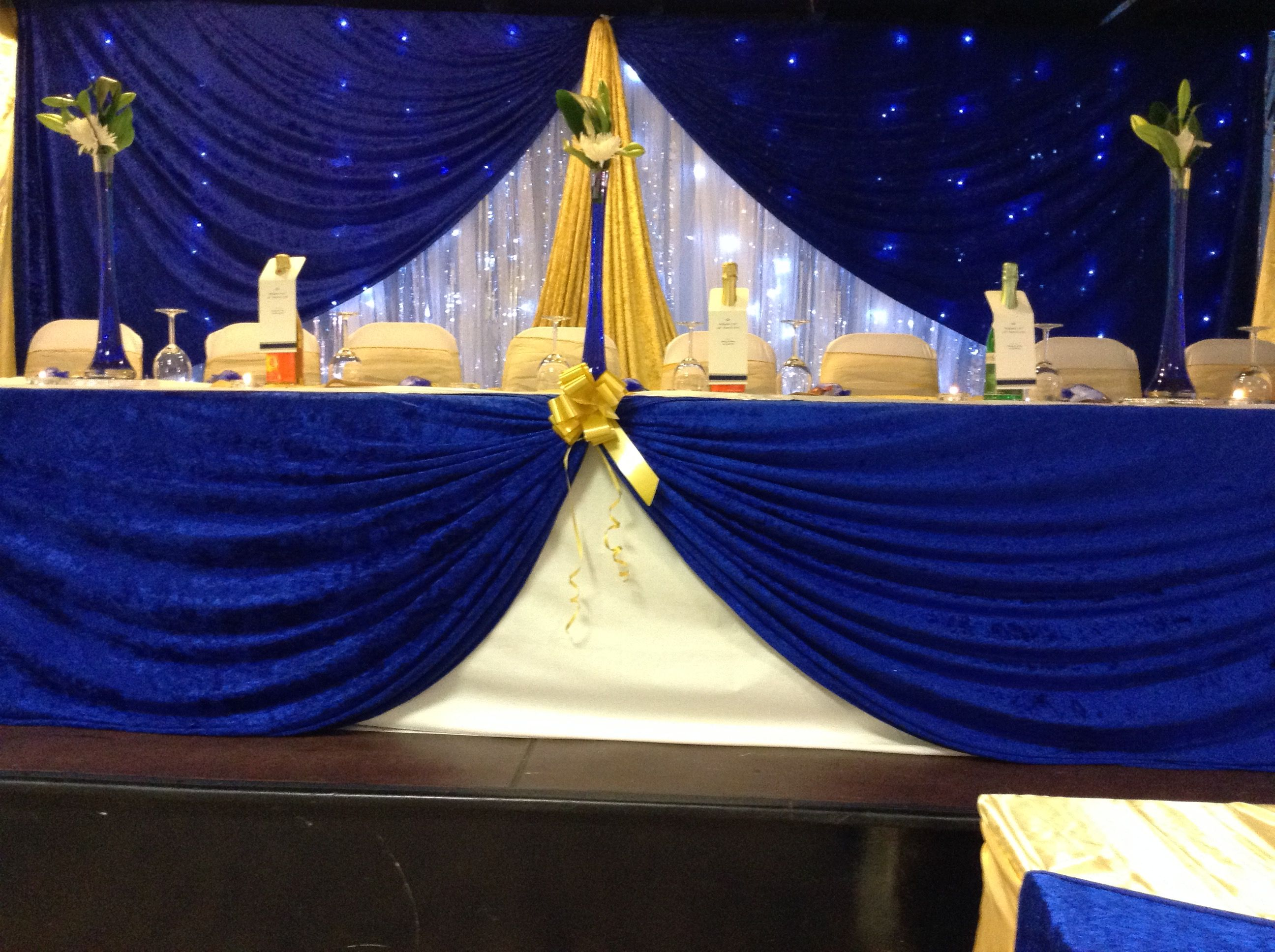 Wedding decorations royal blue  Royal blue and gold backdrop  RECRUITS SHIELD DAY  Pinterest