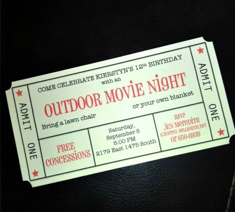 outdoor movie invite Party Planning Pinterest Movie, Movie - create your own movie ticket