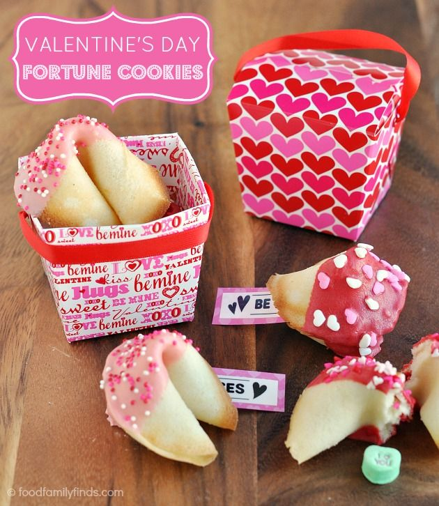 food family finds dipped and decorated fortune cookies for valentines day