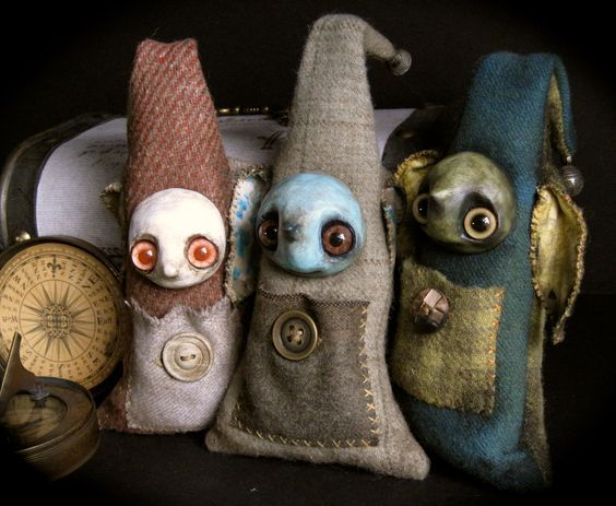 Monster dolls, a trio of Finders Keepers. They are mixed media primitive monster art dolls.