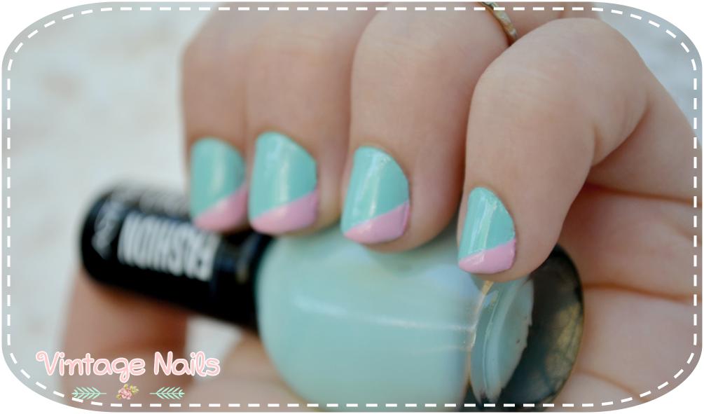 Manicura sencilla en verde menta y rosa pastel   www.vintage-nails ...