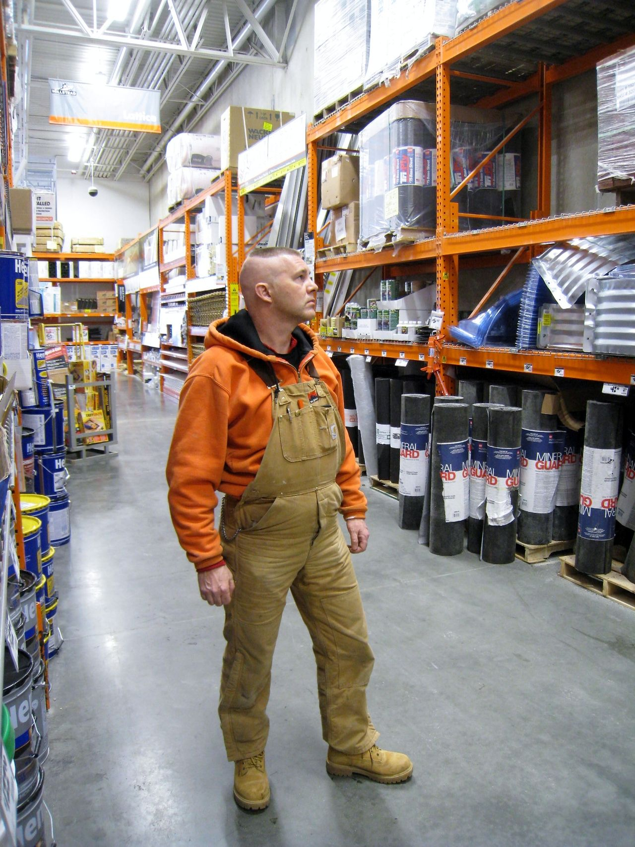 9b7a61c4e8 Corduroy overalls worn with work boots at Home Depot