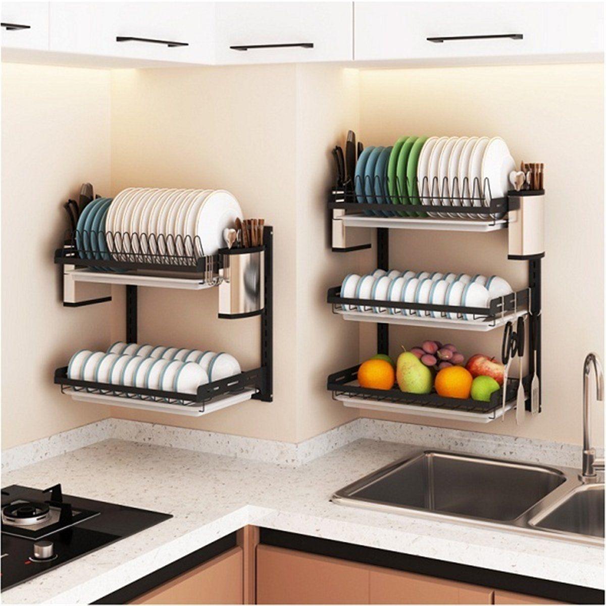 Wall Dish Rack Stainless Steel Home Storage Plate Holder Shelf W Drainer Tray Walmart Com In 2021 Kitchen Storage Shelves Kitchen Furniture Design Diy Kitchen Storage