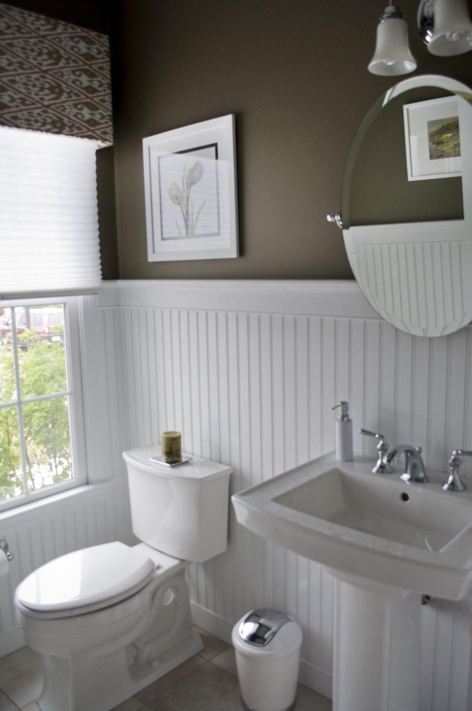 Bathroom High Contrast Powder Room Dark Walls White