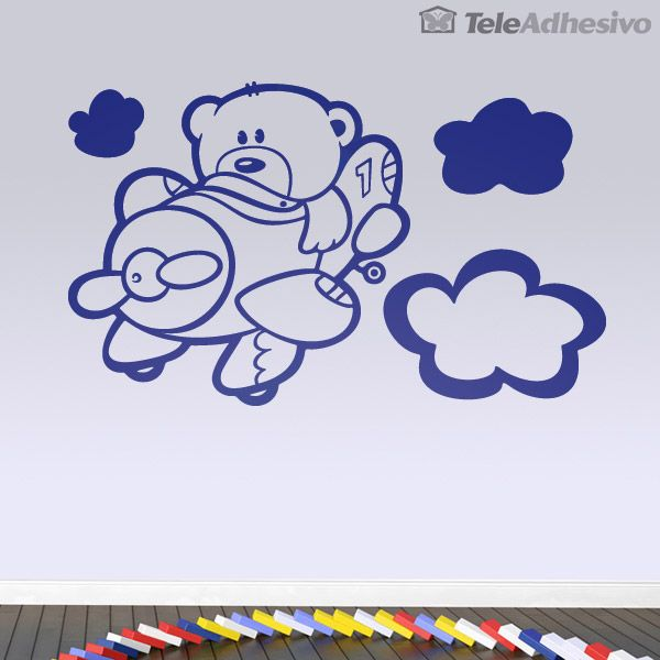 Vinilos infantiles avi n y osito piloto 3 silhouette for Stickers infantiles