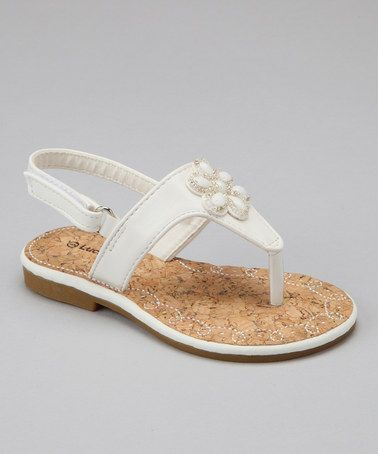 Take a look at this White Floral Jewel Sandal by Lucky Top on #zulily today!