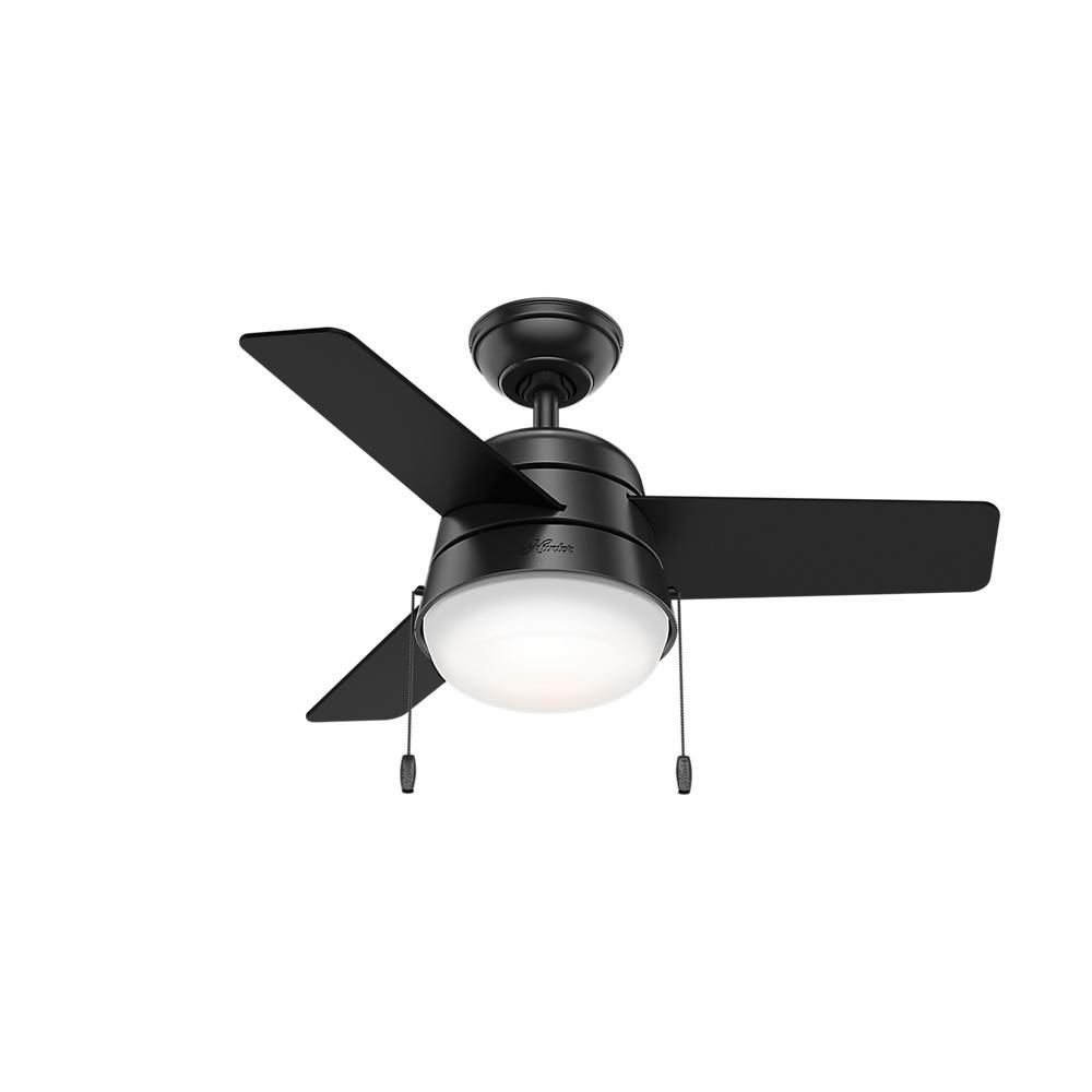 Hunter aker 36 in led indoor matte black ceiling fan with light hunter aker 36 in led indoor matte black ceiling fan 59302 the home depot mozeypictures Choice Image