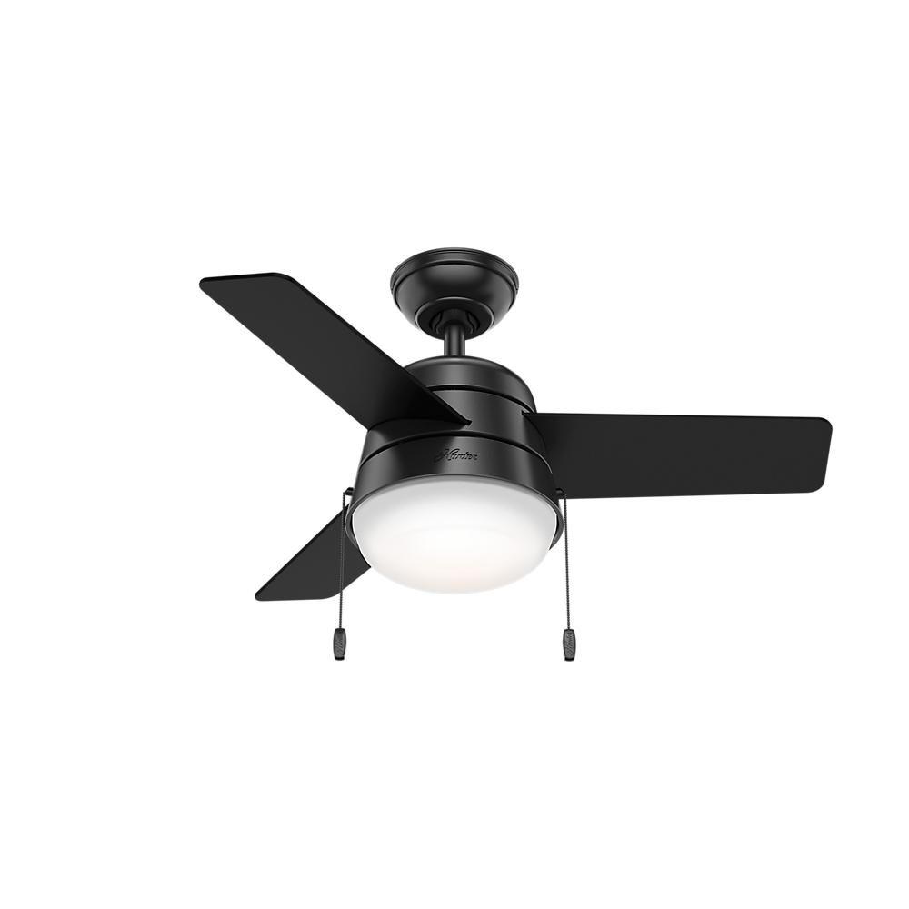 Hunter aker 36 in led indoor matte black ceiling fan with light hunter aker 36 in led indoor matte black ceiling fan 59302 the home depot aloadofball Gallery