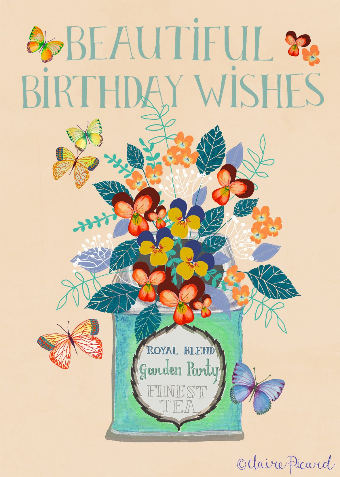 Birthday Greetings Card Garden Party By Claire Picard Www