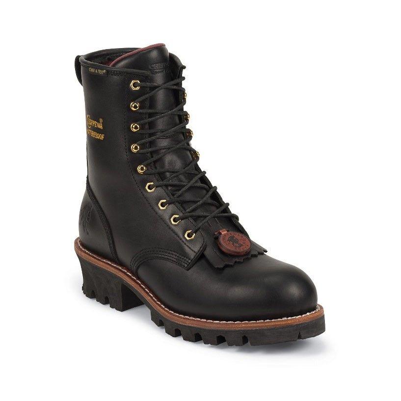 Chippewa womens 8 black steel toe logger l73050