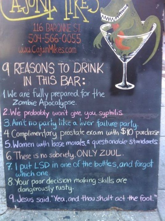 Reasons to drink in this bar