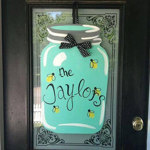 Pin By Katie On Well Shut The Front Door Crafts Mason Jar Door Hanger Wooden Door Hangers Wood Door Hangers
