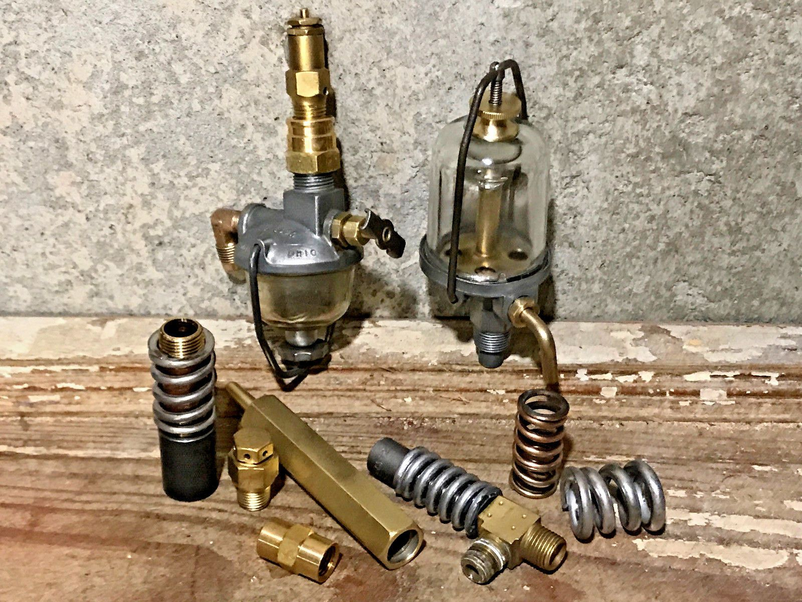 vintage brass steampunk lamp part lot fuel filter pressure valve gauge fitting [ 1600 x 1200 Pixel ]