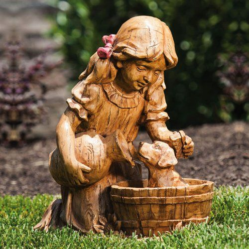 Fountain, Sharing And Giving Little Girl Garden Statue.