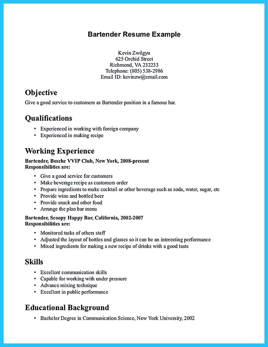 Restaurant Resume Objective Internet Offers Various Bartender Resume Template And Samples That