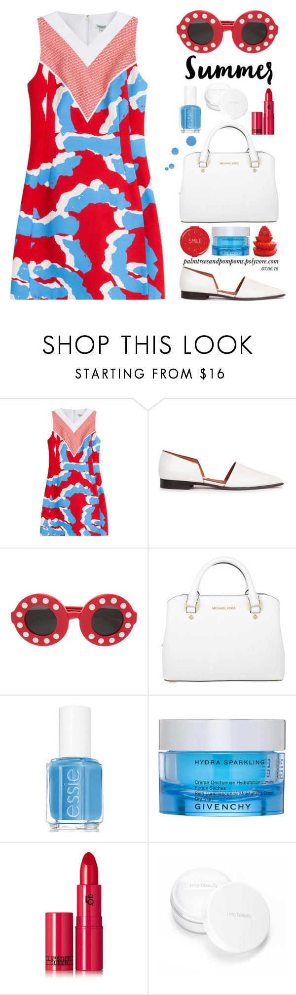"""07.06.16"" by palmtreesandpompoms ❤ liked on Polyvore featuring Kenzo, Acne Studios, Linda Farrow, Michael Kors, Essie, Givenchy, Lipstick Queen, rms beauty and Wild & Wolf"