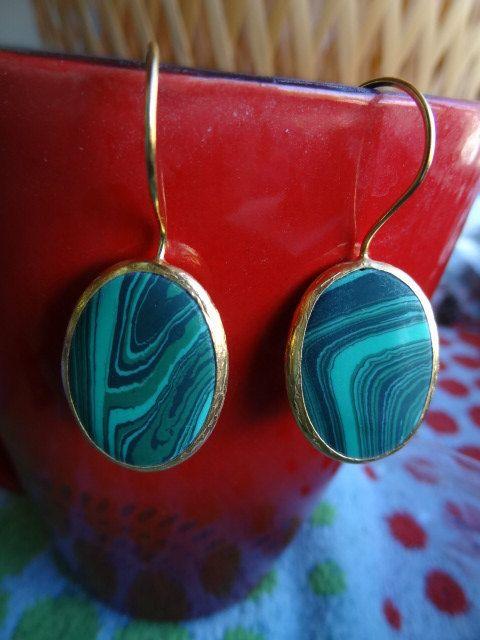 Gorgeous Malachite Earrings Green Earrings by RicaJewelsCalifornia, $32.00