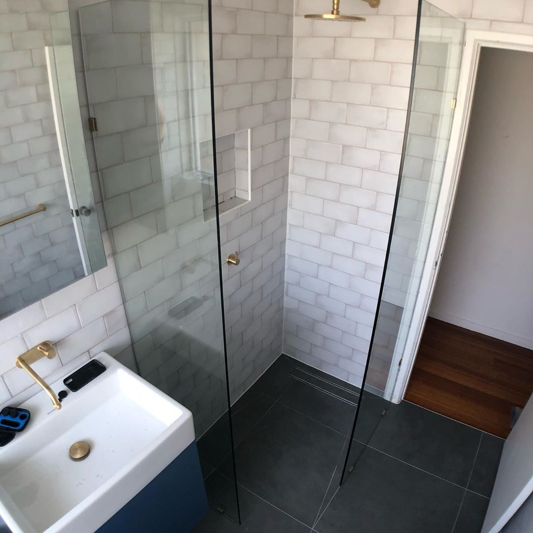 Swipe to see this beautiful bathroom renovation we just finished today     Thanks to tientotiles for supplying these beautiful tiles