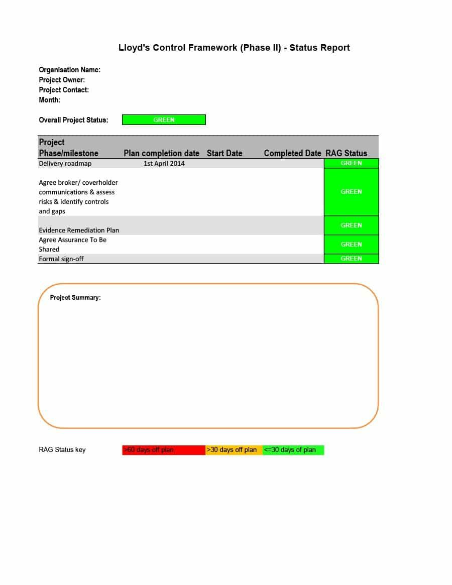 The Interesting 40 Project Status Report Templates Word Excel