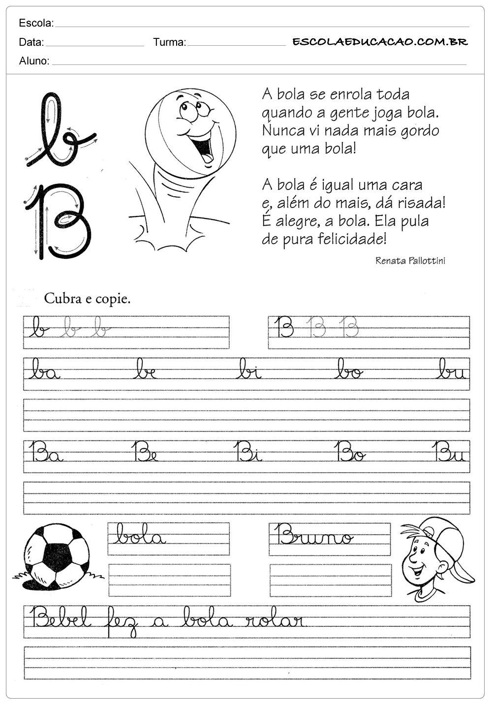 Atividade de caligrafia letra B | Caligrafia | Pinterest ...