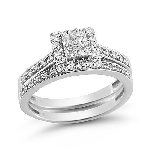 14k White Gold Princess Cut Quad Diamond Bridal Ring Set