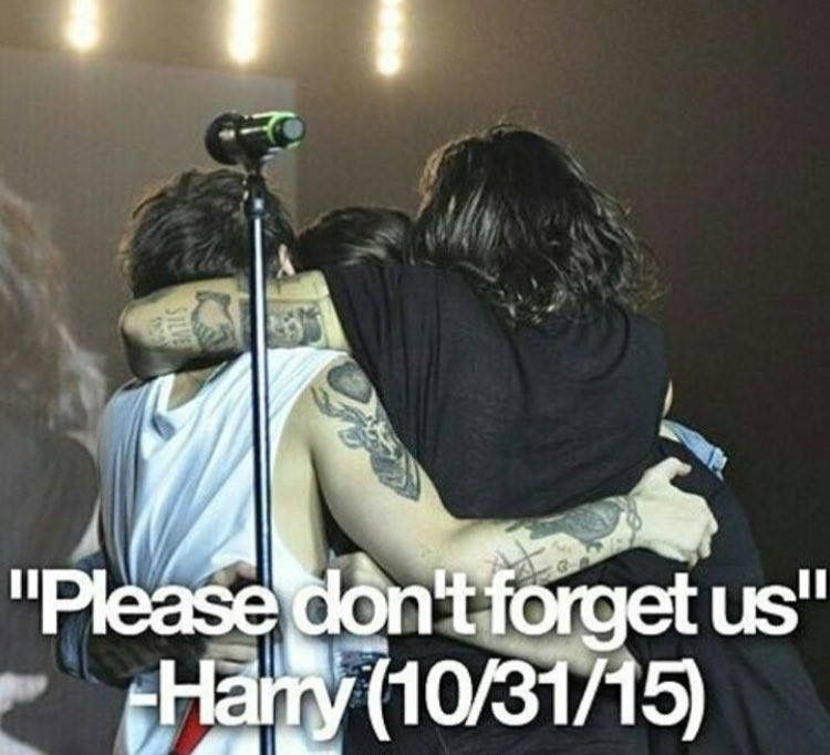 Don't worry Harry, we will never ever forget you guys!