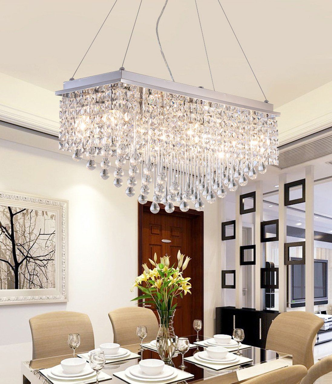 Modern K9 Crystal Raindrop Chandelier Lighting Flush Mount Led