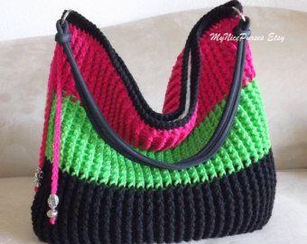 Crochet Blue Spring Summer Purse With Rose Shoulder Bag