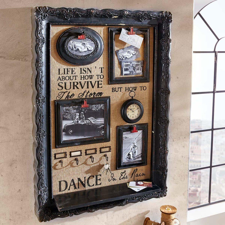 memoboard vintage bilderrahmen mit ablage schwarz k che haushalt wohnung. Black Bedroom Furniture Sets. Home Design Ideas