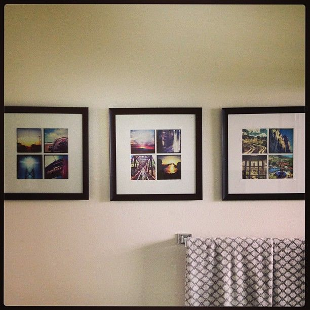 "Instagram photos as decor. also, link for printing 24 4"" instagram photos for $12. 12x12 frames. Perfect mats with 8x8 openings."