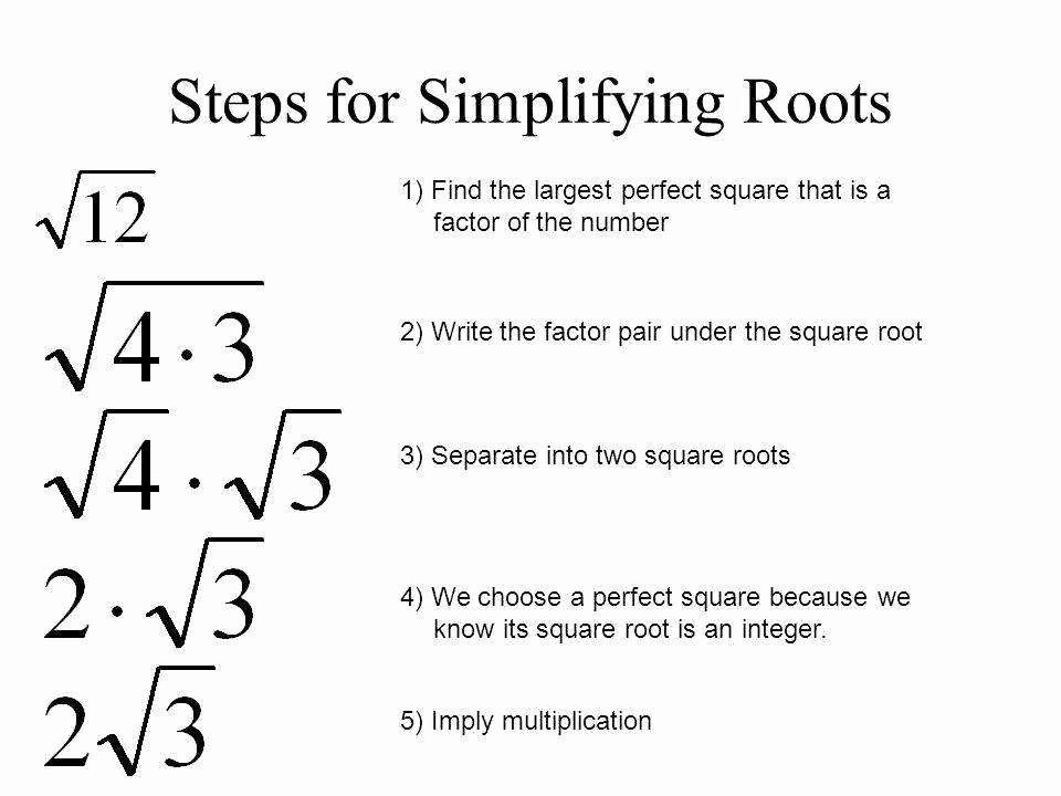 Simplify Square Roots Worksheet New Simplifying Square Roots Worksheet Simplifying Radicals Notes Math Lesson Plans Math Notes