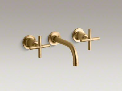 kohler purist wall-mounted faucet gold/bronze I recommend a wall ...