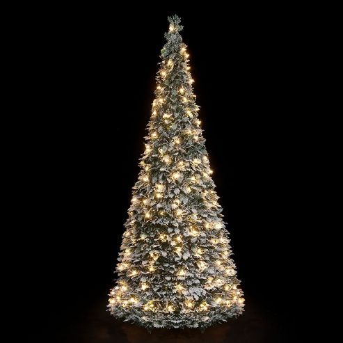 5ft pre lit flocked holly pop up christmas tree with 150 warm white leds - Pre Decorated Pop Up Christmas Trees