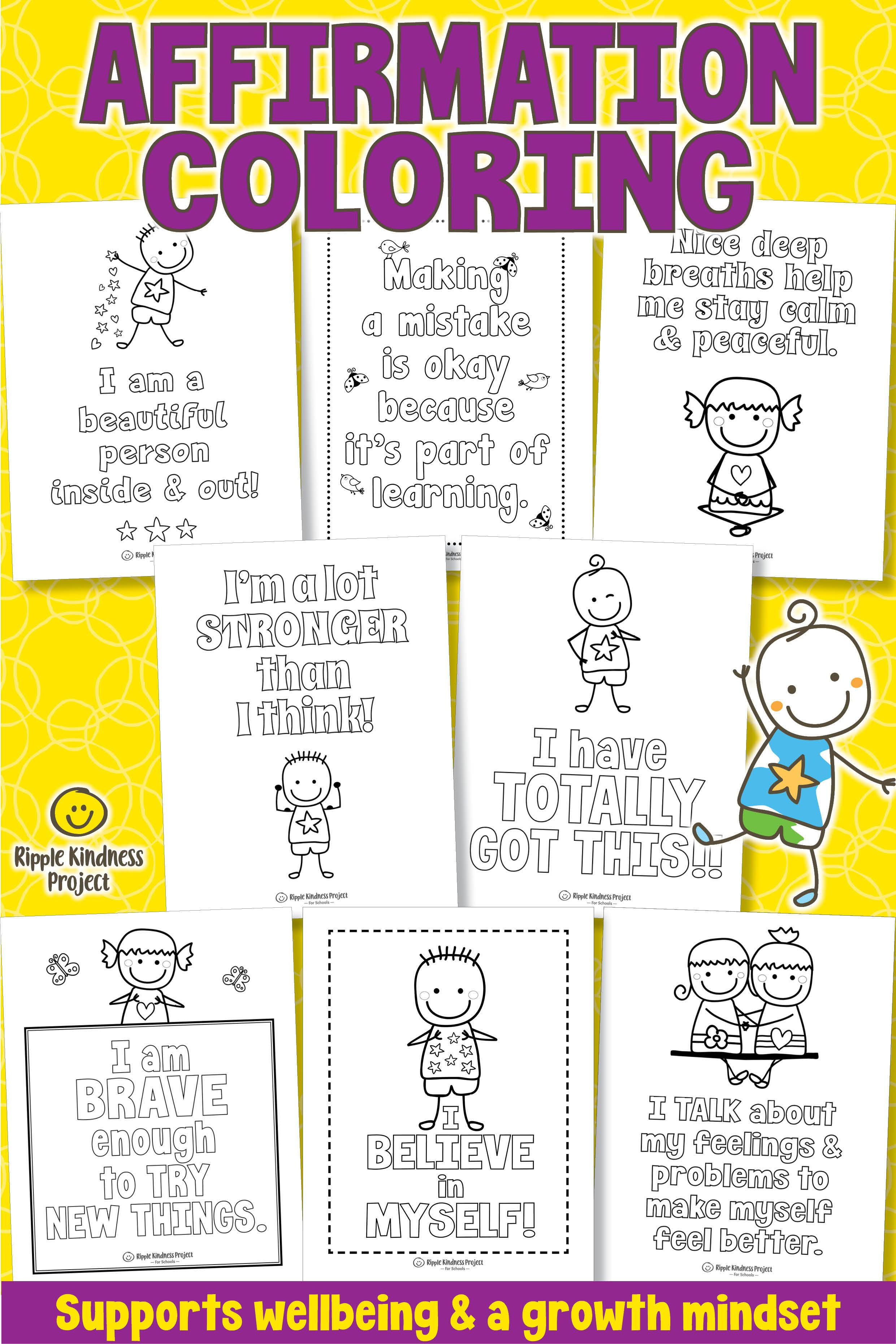 Positive Affirmation Coloring Pages For Growth Mindset