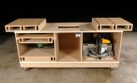 """Modified """"Ultimate Tool Stand"""" with sliding top boxes. Pro: More adjustment for range of tools. Con: Wood dust, chips getting under the sliding boxes. Also, design looks shorter in length, which could be good for smaller shops. Alternative to torsion base build: use an Interior Door sandwiched between two 3/4"""" MDF boards, thinner base, so you'll gain storage height."""