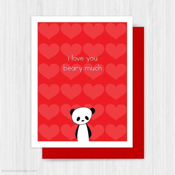 Panda Valentine Card Cute Romantic Valentines Day Bear Pun For Girlfriend Boyfriend Wife Husband Valentines Cards Cute Valentines Card Romantic Valentine Card