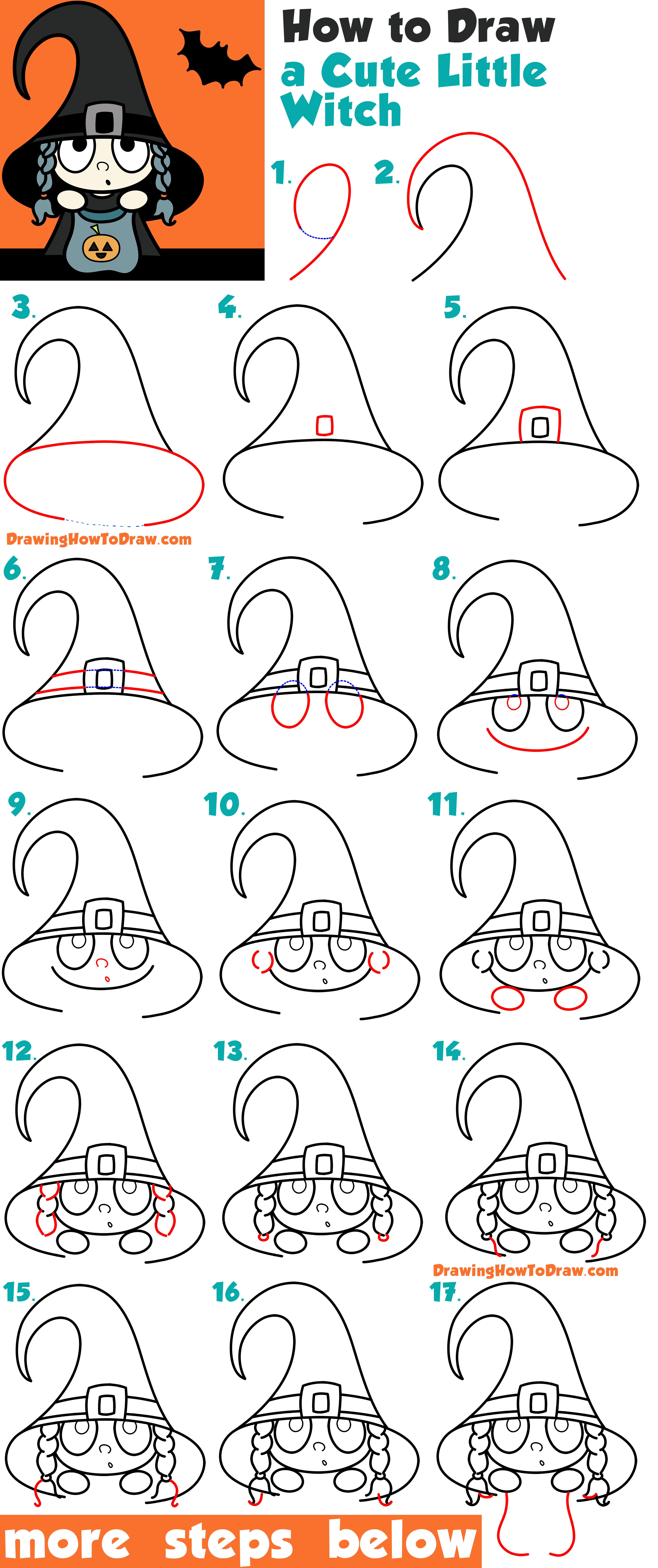 How to Draw a Cute Cartoon Kid Dressed Up as a Witch for
