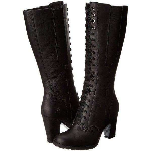 heels boots, Black knee boots