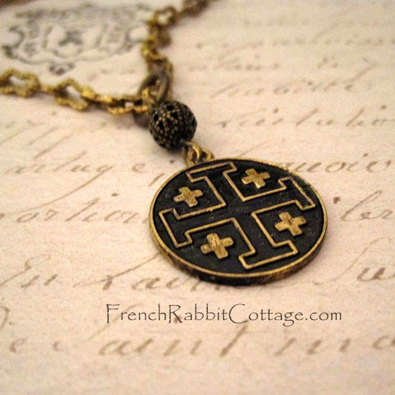 Jerusalem cross pendant necklace by frenchrabbitcottage1 on etsy jerusalem cross pendant necklace by frenchrabbitcottage1 on etsy jerusalem crosses pinterest aloadofball Images