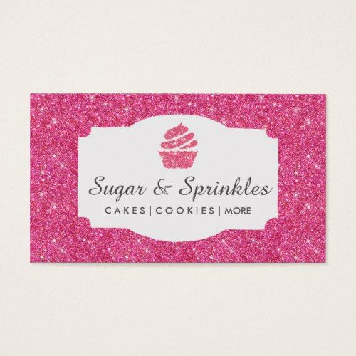 Bakery catering pink glitter business cards