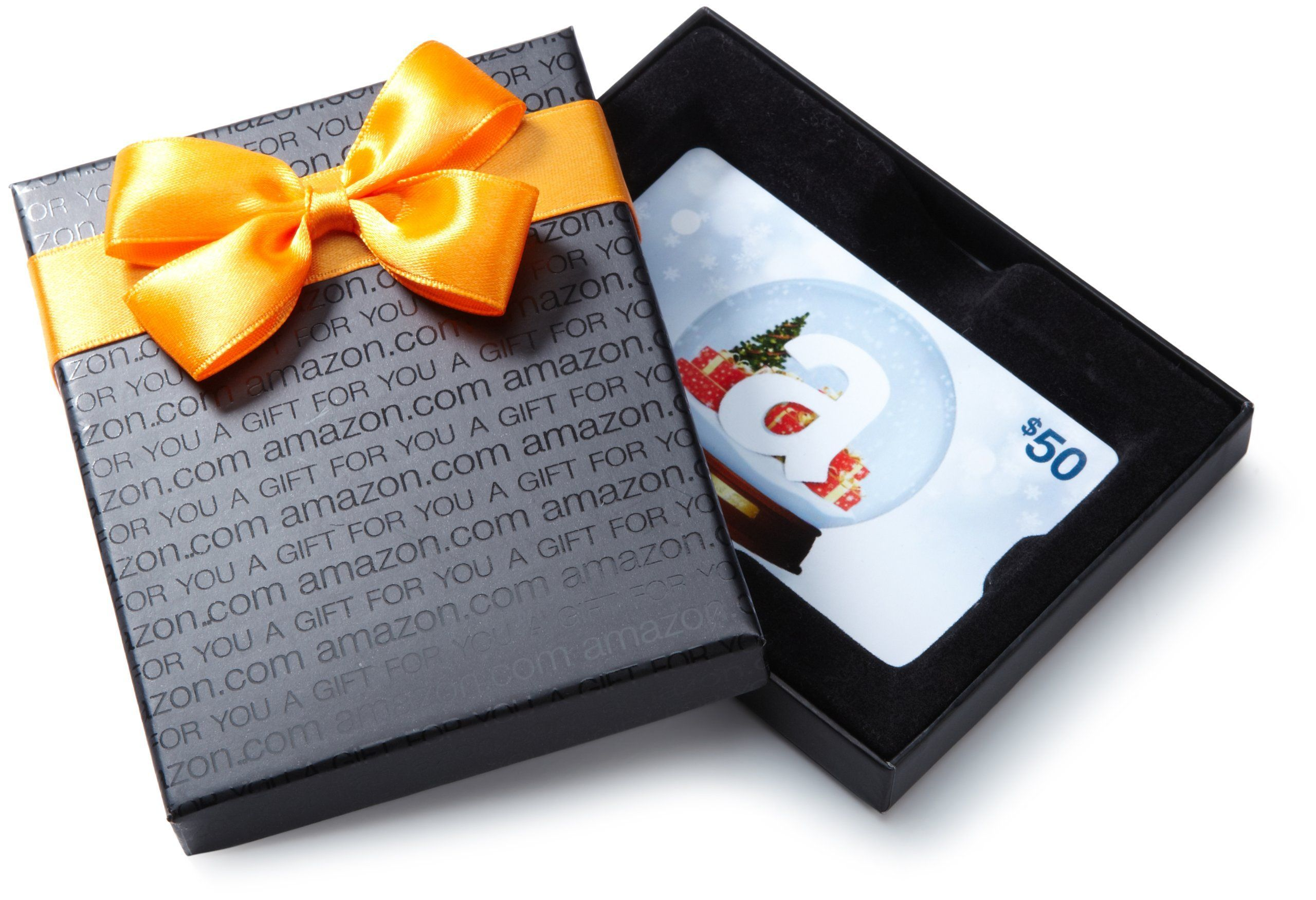 Photo of Amazon.com $50 Gift Card in a Black Gift Box Holiday Globe Card Design * To view…