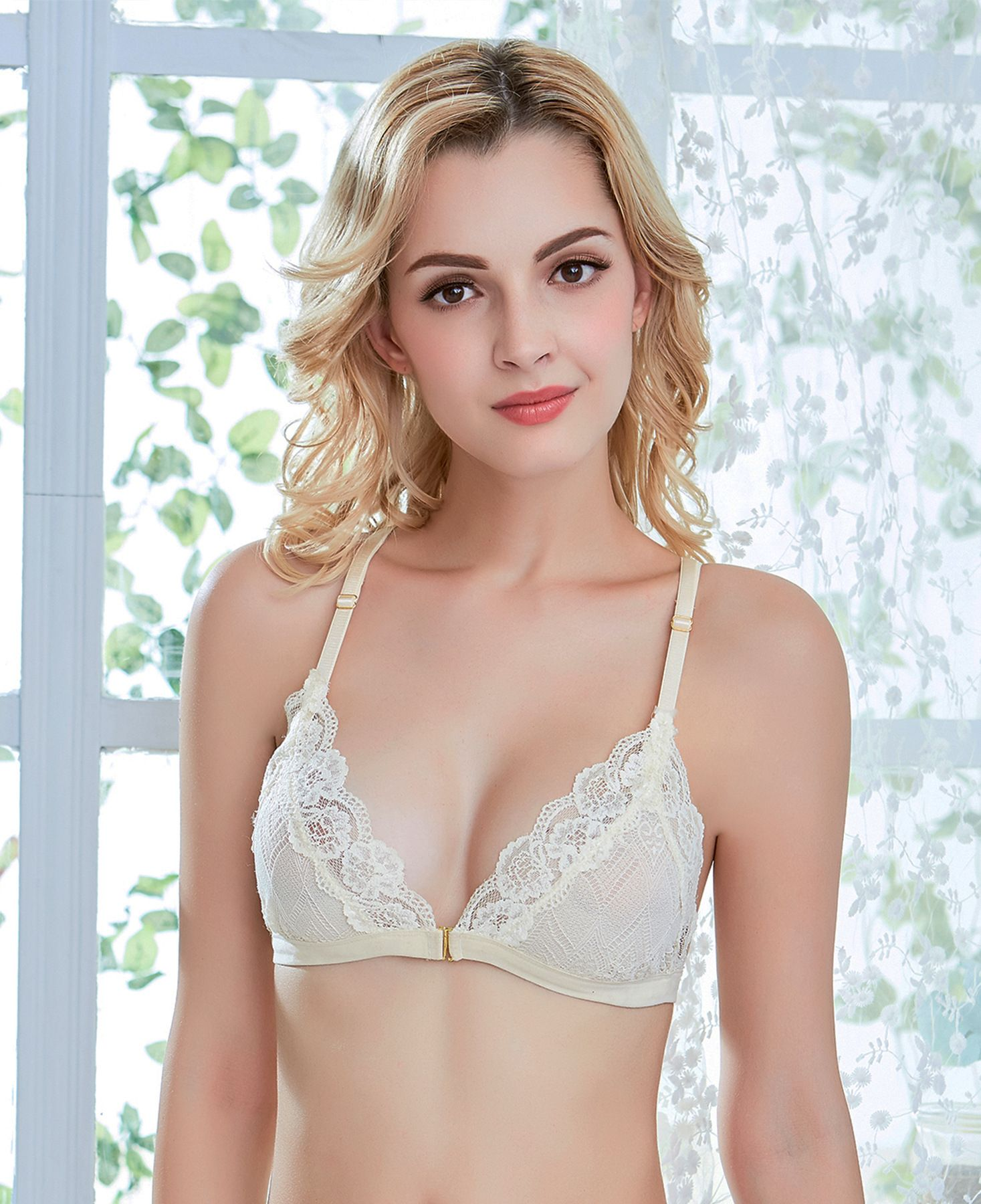 1b4f31990347 Shitagi Ultra-thin Transparent Foral Lace Bralette Hot Sexy Seamless Bra  Women V-neck Wirefree Front Closure Lady Underwear