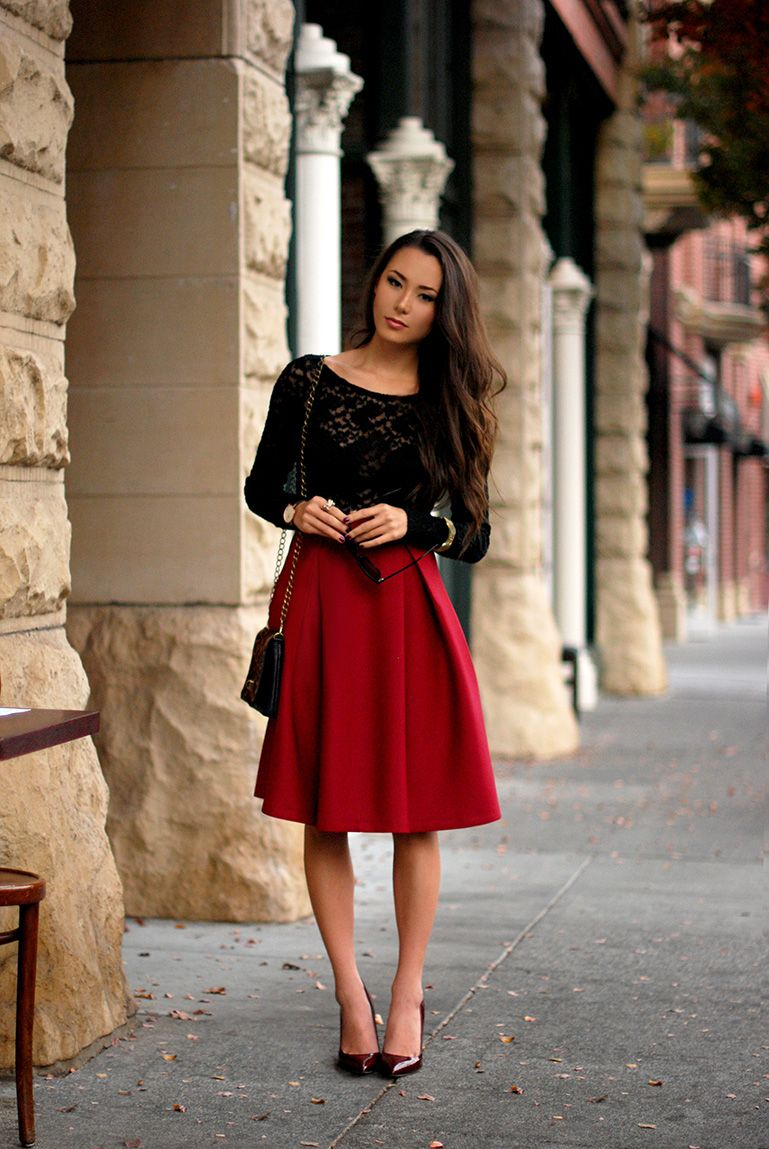 25 Perfect Fall Date Night Outfit Ideas | Full midi skirt, Skirts ...