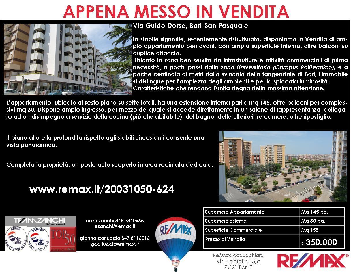 Appena Messo in Vendita Bari, Via Guido Dorso Ampio Appartamento Pentavani con posto auto www.remax.it/20031050-624 info 348 7340665