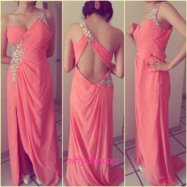 Elegant One Shoulder Prom Dress,Beaded Chiffon Coral Formal ...