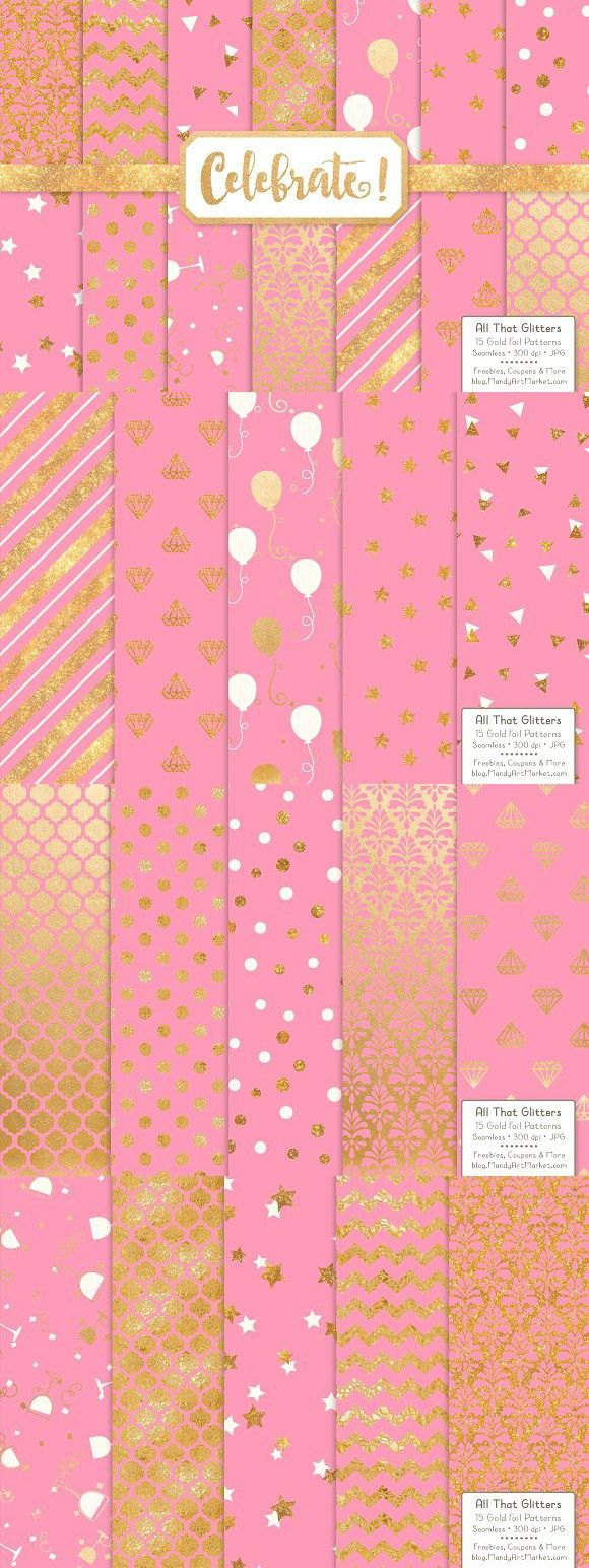 Gold Foil Digital Papers in Pink. Wedding Card Templates