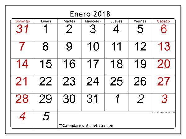 Calendario para imprimir enero 2018 - Oseus | Calendario para ...